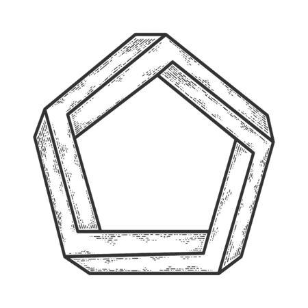 impossible pentagon sketch engraving  illustration. T-shirt apparel print design. Scratch board imitation. Black and white hand drawn image.