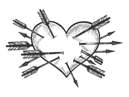 Heart symbol pierced with many arrows sketch engraving illustration. Romantic love symbol. T-shirt apparel print design. Scratch board imitation. Black and white hand drawn image.