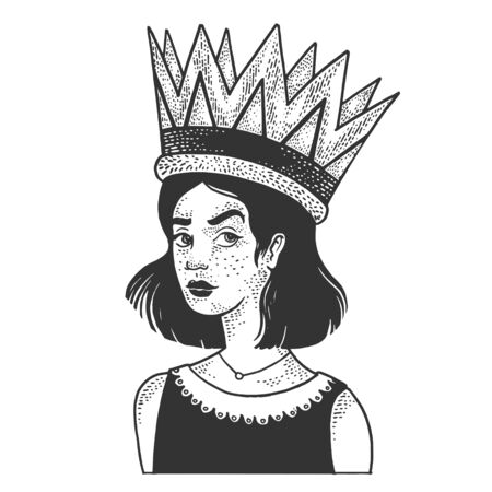 Girl in a huge royal crown sketch engraving illustration. Inflated self-esteem metaphor. T-shirt apparel print design. Scratch board style imitation. Black and white hand drawn image.