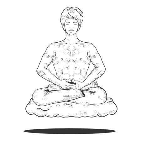Yogi meditating and floating on cloud sketch engraving vector illustration. Scratch board style imitation. Black and white hand drawn image.