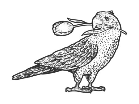 Parrot bird with tulip flower in its beak sketch engraving vector illustration. T-shirt apparel print design. Scratch board style imitation. Hand drawn image. Ilustração