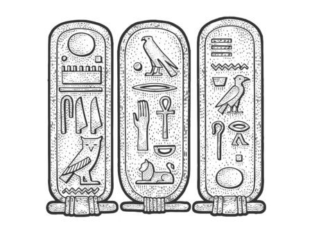 Ancient Egyptian Cartouche sketch engraving vector illustration. T-shirt apparel print design. Scratch board imitation. Black and white hand drawn image.