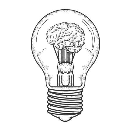 Bombilla con cerebro dentro de boceto grabado ilustración vectorial. Diseño de impresión de ropa de camiseta. Imitación de tablero de rascar. Imagen dibujada a mano en blanco y negro.