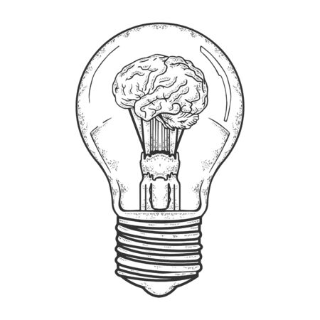 Lamp bulb with brain inside sketch engraving vector illustration. T-shirt apparel print design. Scratch board imitation. Black and white hand drawn image.