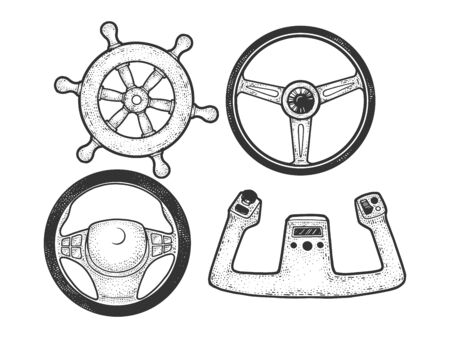 Steering wheel set sketch engraving vector illustration. T-shirt apparel print design. Scratch board imitation. Black and white hand drawn image. Banque d'images - 137787935
