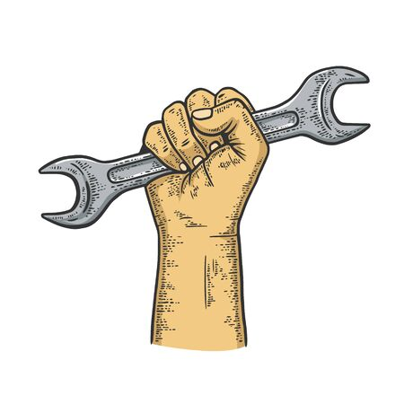 Wrench in fist sketch engraving vector illustration. T-shirt apparel print design. Scratch board imitation. Black and white hand drawn image. Illustration