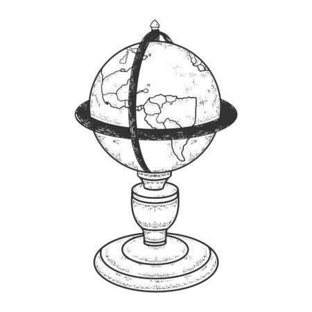 Vintage globe sphere sketch engraving vector illustration. T-shirt apparel print design. Scratch board imitation. Black and white hand drawn image.