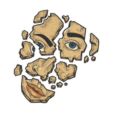 Shattered face broken on fragments sketch engraving vector illustration. T-shirt apparel print design. Scratch board style imitation. Black and white hand drawn image. Ilustração