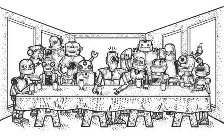 The Last Supper of robots sketch engraving vector illustration. Leonardo da Vinci painting parody. T-shirt apparel print design. Scratch board imitation. Black and white hand drawn image. Vector Illustration