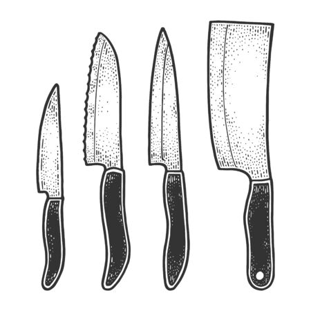 Knife set sketch engraving vector illustration. T-shirt apparel print design. Scratch board imitation. Black and white hand drawn image.