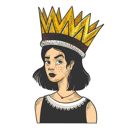 Girl in a huge giant royal crown sketch engraving vector illustration. Inflated self-esteem metaphor. T-shirt apparel print design. Scratch board style imitation. Black and white hand drawn image.
