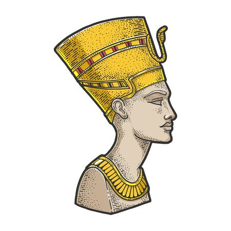 Nefertiti Ancient Egyptian Pharaoh statue sketch engraving vector illustration. T-shirt apparel print design. Scratch board imitation. Black and white hand drawn image.