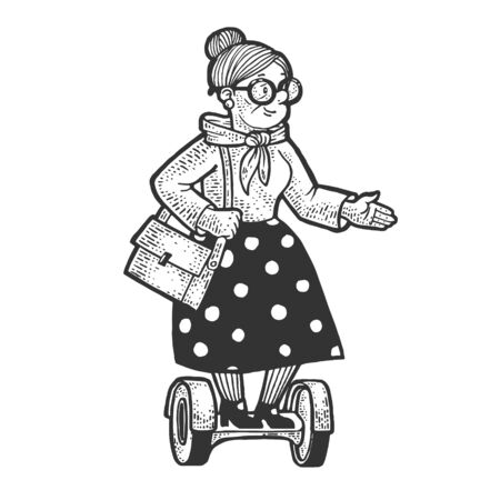 Old woman grandmother rides on hoverboard self-balancing scooter sketch engraving vector illustration. T-shirt apparel print design. Scratch board imitation. Black and white hand drawn image.