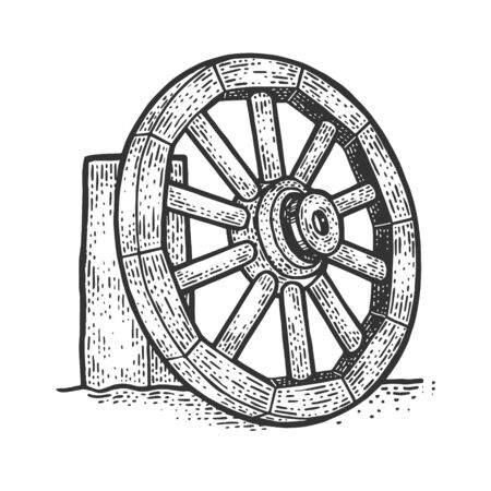 Wooden cart wheel on the side of the road sketch engraving vector illustration. T-shirt apparel print design. Scratch board imitation. Black and white hand drawn image. Banque d'images - 139413176