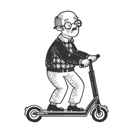 Old man grandfather rides on electric Kick scooter sketch engraving vector illustration. T-shirt apparel print design. Scratch board imitation. Black and white hand drawn image.