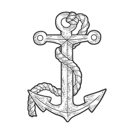 Anchor and rope sketch engraving vector illustration. T-shirt apparel print design. Scratch board imitation. Black and white hand drawn image.