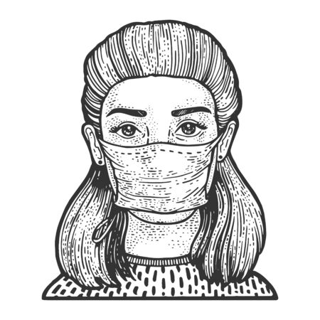 Young woman in medical surgical mask sketch engraving vector illustration. T-shirt apparel print design. Scratch board imitation. Black and white hand drawn image.  イラスト・ベクター素材