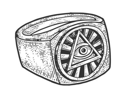 Eye of God Providence ring masonic symbol sketch engraving vector illustration. Scratch board style imitation. Black and white hand drawn image. Иллюстрация