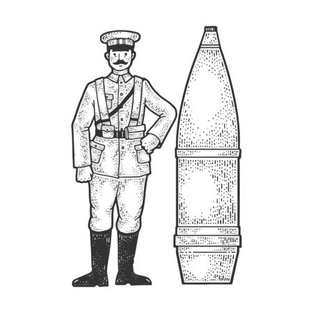 World War I soldier and huge cannon shell sketch engraving vector illustration. T-shirt apparel print design. Scratch board imitation. Black and white hand drawn image.