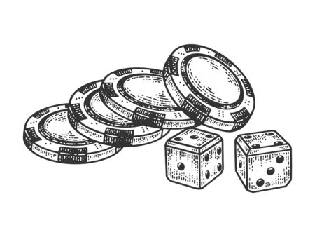 Casino dice and chips sketch engraving vector illustration. T-shirt apparel print design. Scratch board imitation. Black and white hand drawn image.