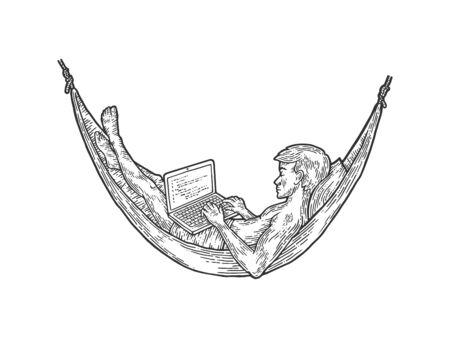 Programmer works in hammock sketch engraving vector illustration. T-shirt apparel print design. Scratch board imitation. Black and white hand drawn image.