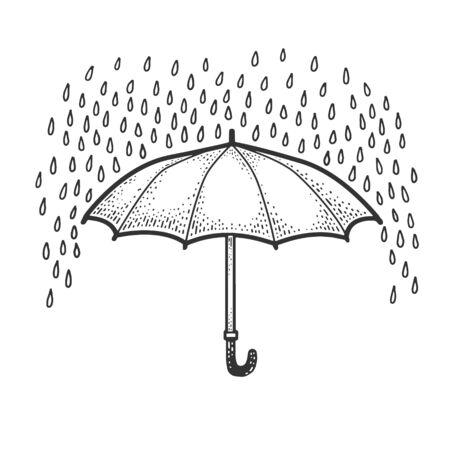 umbrella protects from rain sketch engraving vector illustration. T-shirt apparel print design. Scratch board imitation. Black and white hand drawn image. Ilustração