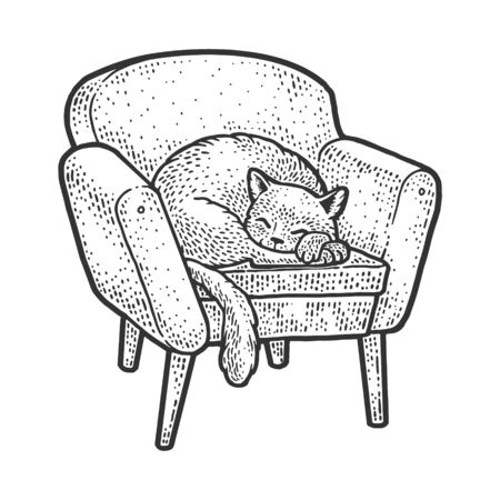 cat sleeping on a cozy armchair sketch engraving vector illustration. T-shirt apparel print design. Scratch board imitation. Black and white hand drawn image.