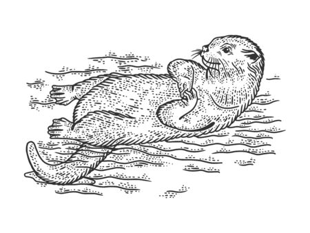 Otter is swimming on its back sketch engraving vector illustration. T-shirt apparel print design. Scratch board imitation. Black and white hand drawn image.