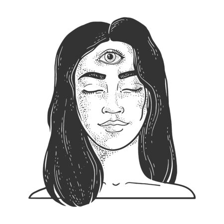 Clairvoyant girl woman with three eyes forehead sketch engraving vector illustration. T-shirt apparel print design. Scratch board imitation. Black and white hand drawn image.