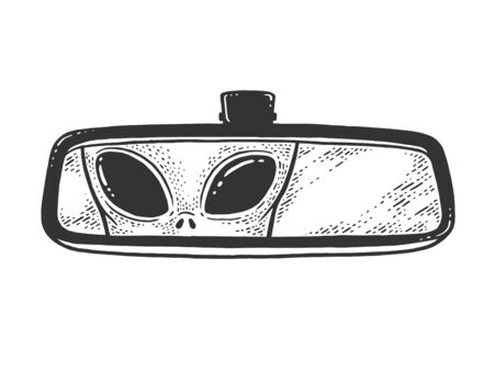 alien is reflected in car rear view mirror sketch engraving vector illustration. T-shirt apparel print design. Scratch board imitation. Black and white hand drawn image.
