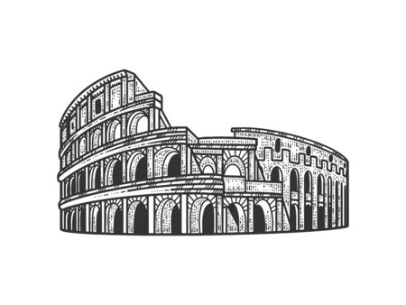 Coliseum historical Rome monument sketch engraving vector illustration. T-shirt apparel print design. Scratch board imitation. Black and white hand drawn image.