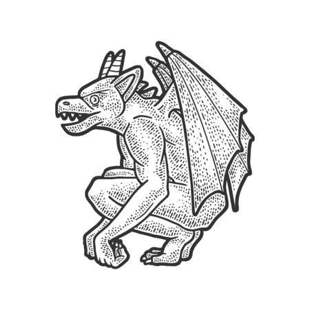 Gargoyle statue sketch engraving vector illustration. T-shirt apparel print design. Scratch board imitation. Black and white hand drawn image.