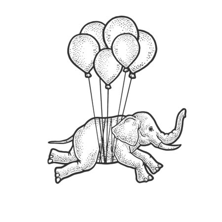 Elephant flies on balloons sketch engraving vector illustration. T-shirt apparel print design. Scratch board imitation. Black and white hand drawn image.