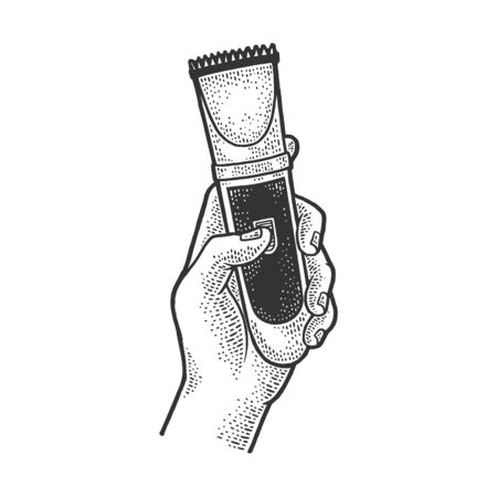 hair clipper in hand sketch engraving vector illustration. T-shirt apparel print design. Scratch board imitation. Black and white hand drawn image.