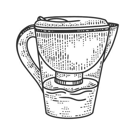 jug filter sketch engraving vector illustration. T-shirt apparel print design. Scratch board imitation. Black and white hand drawn image. Ilustración de vector