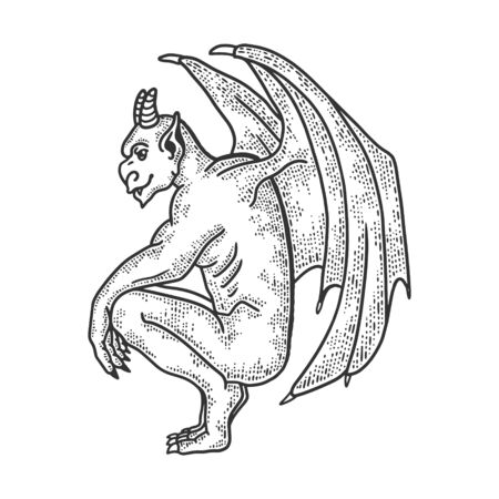 Gargoyle statue sketch engraving vector illustration. T-shirt apparel print design. Scratch board imitation. Black and white hand drawn image. Vectores
