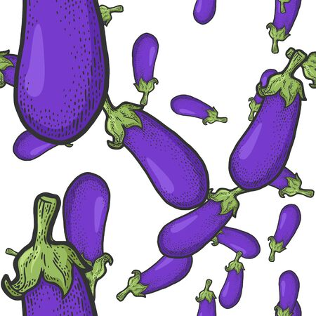 Blue eggplant seamless pattern background color sketch engraving vector illustration. T-shirt apparel print design. Scratch board imitation. Black and white hand drawn image. Vetores