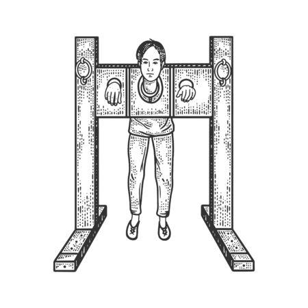 man in the stocks torture sketch engraving vector illustration. T-shirt apparel print design. Scratch board imitation. Black and white hand drawn image. Vektoros illusztráció