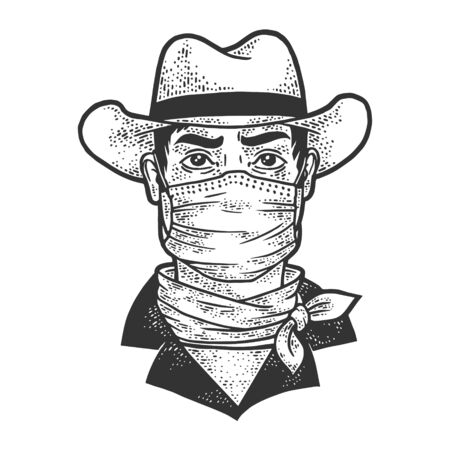 gangster cowboy in medical mask sketch engraving vector illustration. T-shirt apparel print design. Scratch board imitation. Black and white hand drawn image.