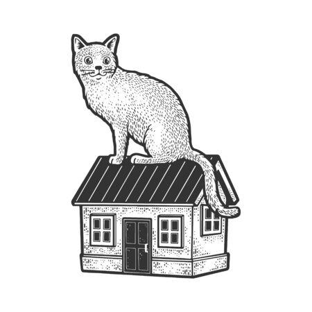 Huge cat is sitting on house sketch engraving vector illustration. T-shirt apparel print design. Scratch board imitation. Black and white hand drawn image. Иллюстрация