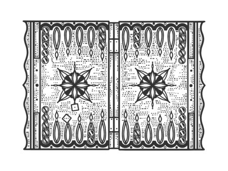 backgammon tables game sketch engraving vector illustration. T-shirt apparel print design. Scratch board imitation. Black and white hand drawn image.