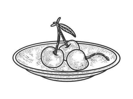 sweet cherry on saucer plate sketch engraving vector illustration. T-shirt apparel print design. Scratch board imitation. Black and white hand drawn image.