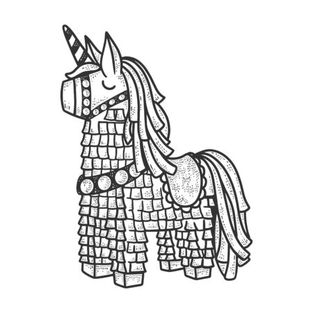 pinata toy sketch engraving vector illustration. T-shirt apparel print design. Scratch board imitation. Black and white hand drawn image.  イラスト・ベクター素材