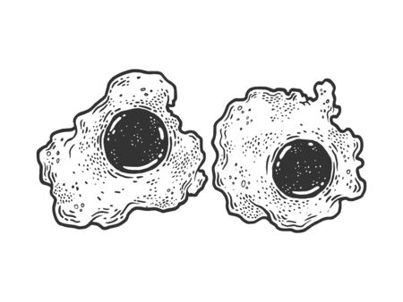 Fried egg sketch engraving vector illustration. T-shirt apparel print design. Scratch board imitation. Black and white hand drawn image.
