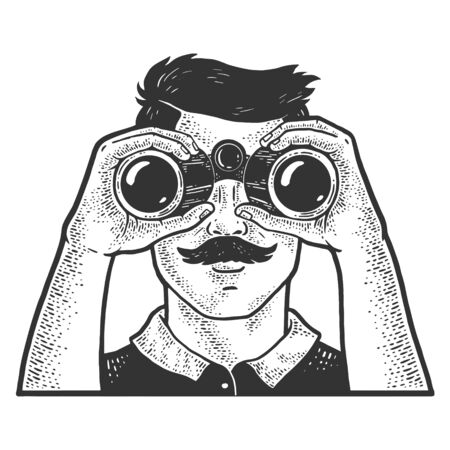 Man looking through binoculars sketch engraving vector illustration. T-shirt apparel print design. Scratch board imitation. Black and white hand drawn image.