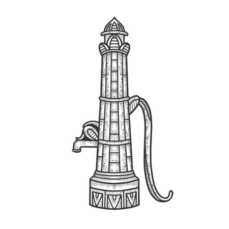 Water street standpipe sketch engraving vector illustration. T-shirt apparel print design. Scratch board imitation. Black and white hand drawn image.