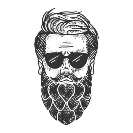 Man with hop beard sketch engraving vector illustration. T-shirt apparel print design. Scratch board imitation. Black and white hand drawn image.
