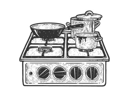 old gas stove with dirty pots and pans sketch engraving vector illustration. T-shirt apparel print design. Scratch board imitation. Black and white hand drawn image.