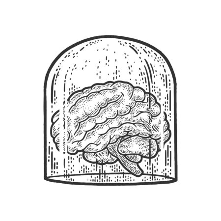 human brain under glass cover sketch engraving vector illustration. T-shirt apparel print design. Scratch board imitation. Black and white hand drawn image.
