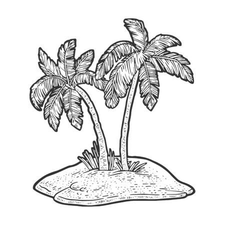 uninhabited island in ocean with two palm trees sketch engraving vector illustration. T-shirt apparel print design. Scratch board imitation. Black and white hand drawn image. 일러스트